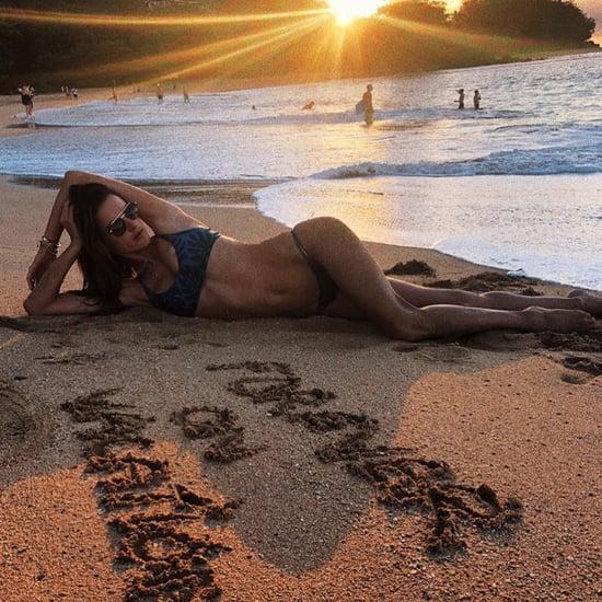 Alessandra Ambrosio's Leaf-Print Bikini