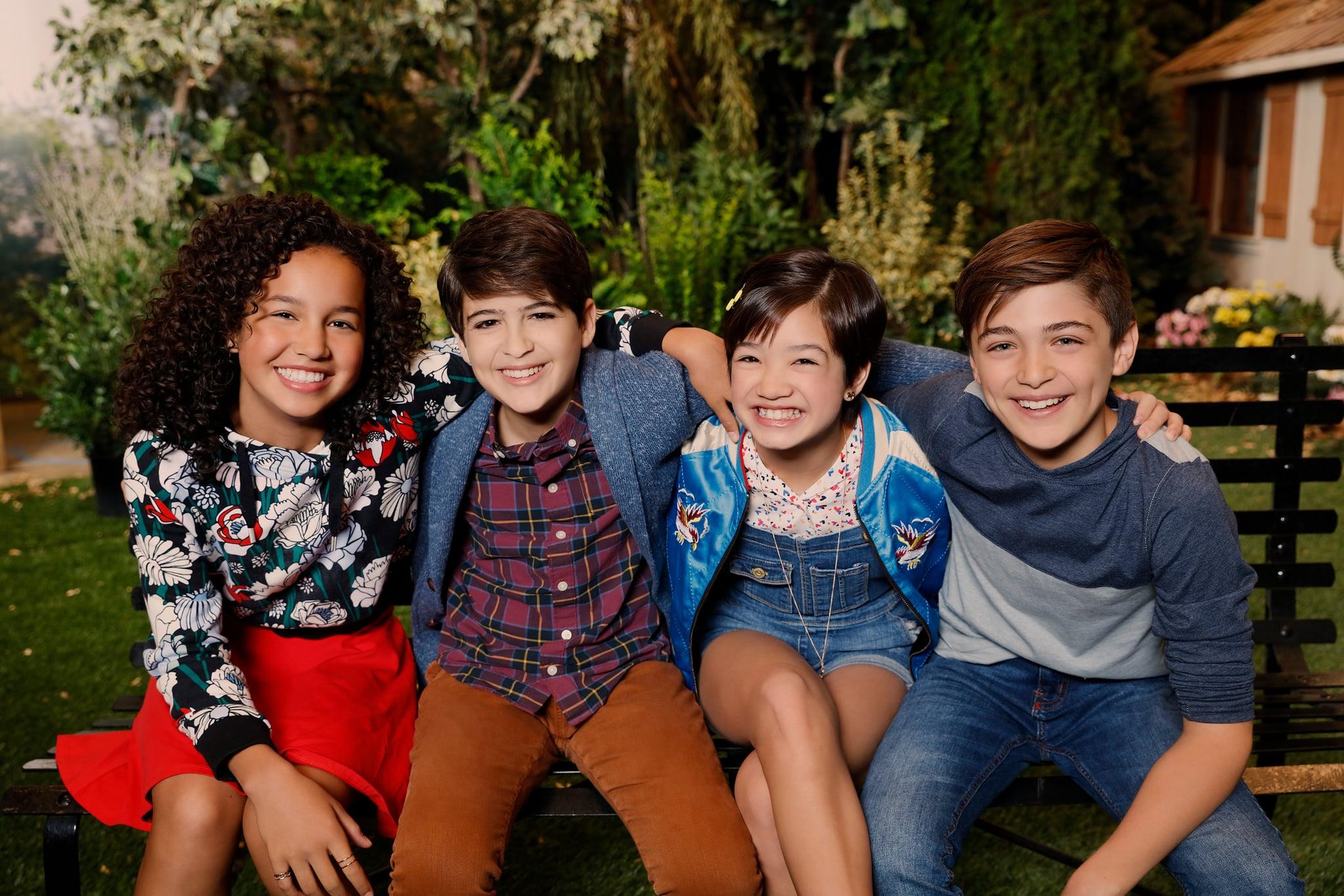ANDI MACK, (from left): Sofia Wylie, Joshua Rush, Peyton Elizabeth Lee, Asher Angel, (Season 1, 2017). photo: Craig Sjodin / Disney Channel / courtesy Everett Collection