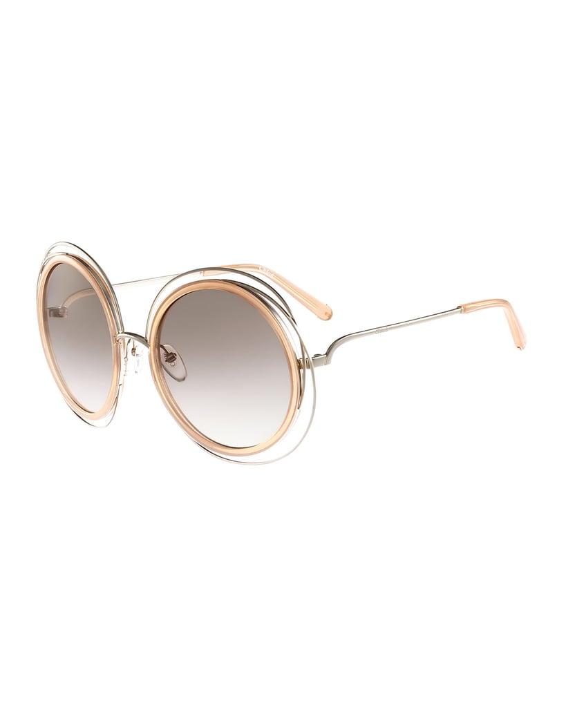 128fef9923f Chloé Carlina Trimmed Round Sunglasses