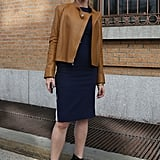 A draped leather jacket was just the thing to top a classic sheath — especially in this buttery hue.