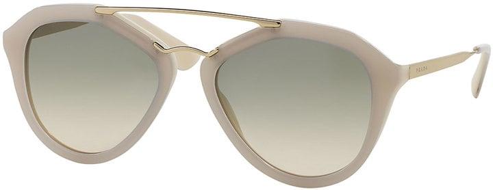 Prada Acetate/Metal Aviator Sunglasses, Ivory ($325)