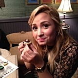 Demi Lovato was loving the snacks in the green room at Late Night With Jimmy Fallon. Source: Twitter user ddlovato