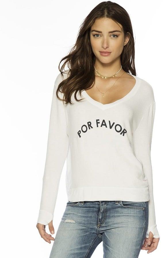 Peace Love World Por Favor Oversized V Neck Comfy Top
