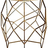 Glass Top Geometric Side Table