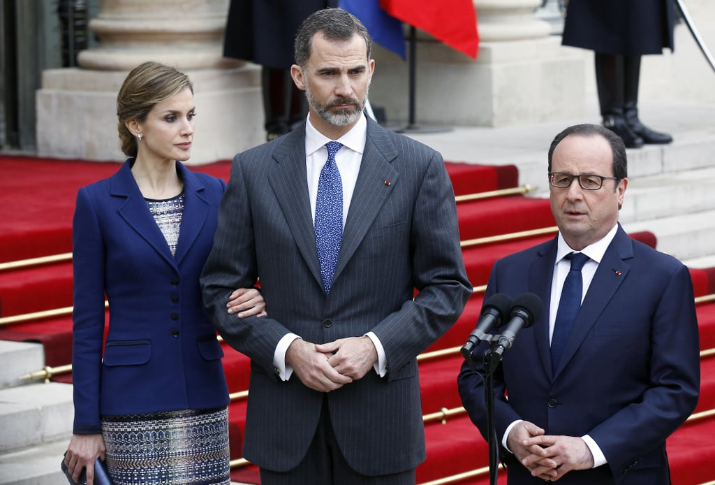 """Minutes after King Felipe VI and Queen Letizia of Spain arrived in Paris, a German passenger plane crashed in southern France, prompting the Spanish royals to suspend their three-day state visit to the country. French President Francois Hollande welcomed the king and queen of Spain at the Élysée Palace on Tuesday, but both leaders approached the mic soon after they arrived to address the sad news. President Hollande, King Felipe VI, and Queen Letizia attended a crisis meeting at the Interior Ministry amid news reports, and in a statement, the French president said, """"There were 148 people on board. The conditions of the accident, which have not yet been clarified, lead us to think there are no survivors . . . The accident happened in a zone that is particularly hard to access."""" Keep reading for pictures from the Spanish royals' arrival, then see new updates on the plane crash."""