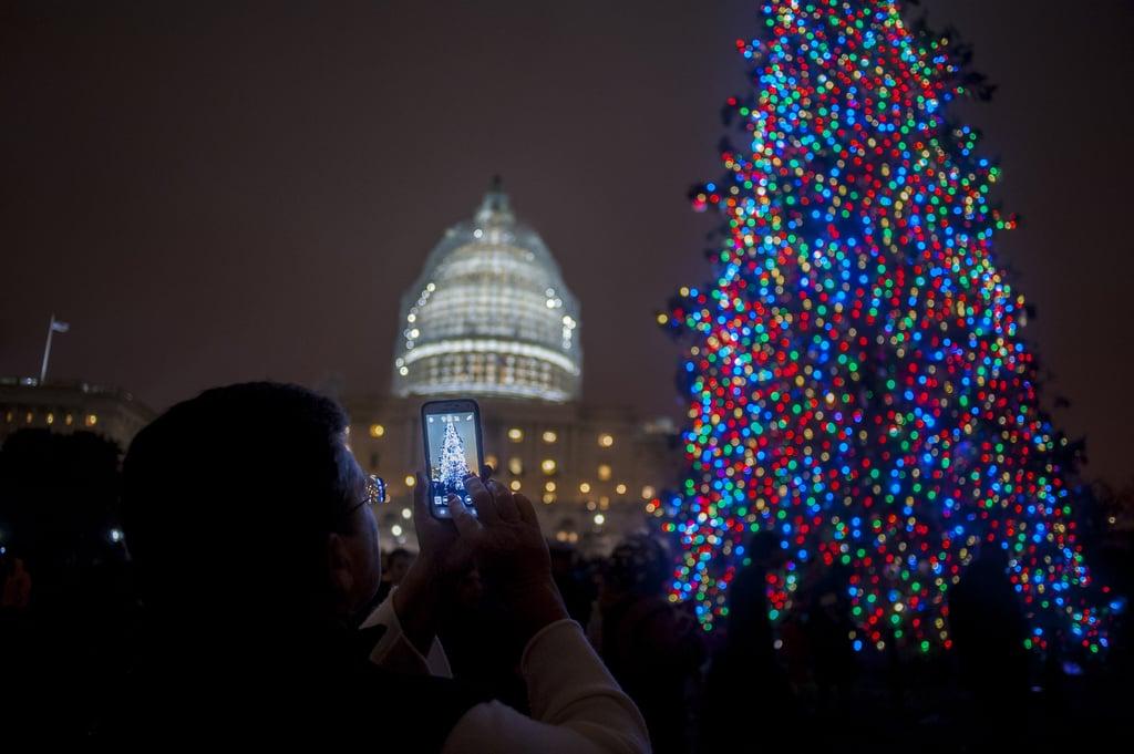 people gathered for the christmas tree lighting ceremony in washington dc - Washington Dc Christmas Tree