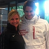 One lucky fan got to pose with Roger Federer.  Source: Twitter user lisaraymond