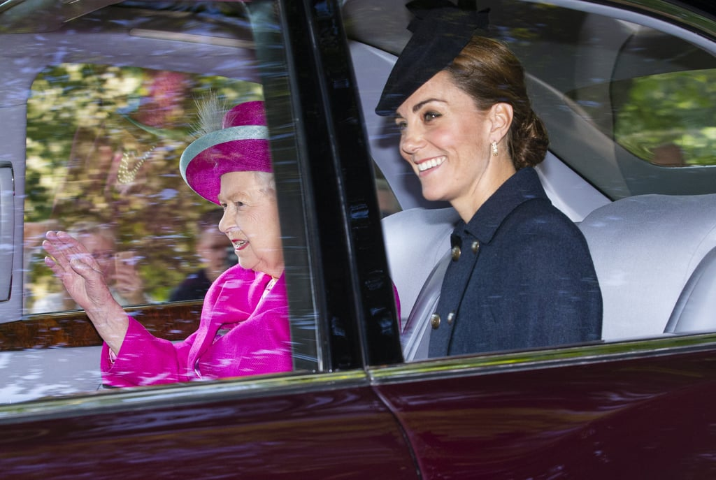 Kate Middleton looked simply stunning on a morning trip to church in Scotland with her husband, Prince William, and Queen Elizabeth II on August 25. The Duchess of Cambridge buttoned up in a navy herringbone coat from Guinea London, which covered a Michael Kors peacock print dress, and she completed the outfit with a matching dark blue fascinator and sparkling Asprey Oak Leaf earrings.  While Kate has quite a selection of sophisticated coats, we've never seen this particular pick before. We have, however, seen her Michael Kors dress. Kate broke out the bold print back in March 2019 for an outing with William, and it's obviously a favourite if she's reaching for it again.  Keep reading to see more photos of Kate's trip Sunday outing, and admire the classy ensemble she chose for the occasion.