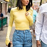 Kendall Sporting Deconstructed Denim in NYC