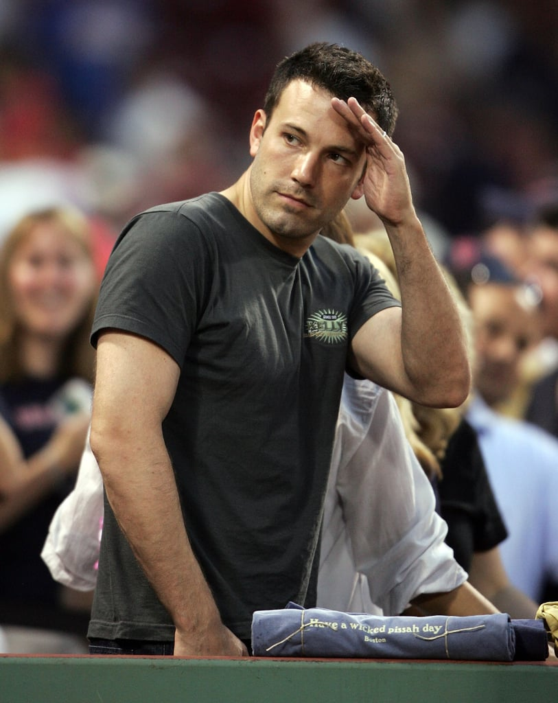 Ben Affleck saluted the players after his Boston Red Sox defeated the NY Yankees at Fenway Park in June 2007.