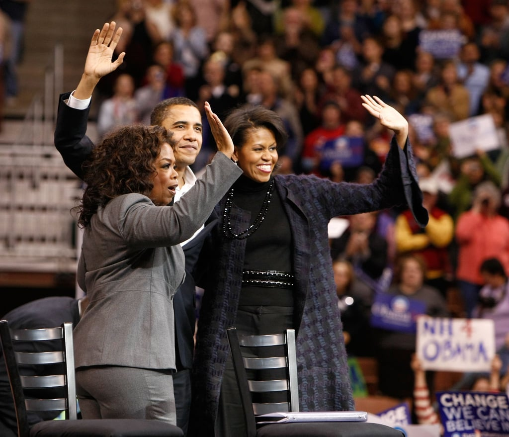 Oprah Winfrey, a friend of the Obamas, vocalized her support of President Obama — then a senator — at a December 2007 rally in NYC.