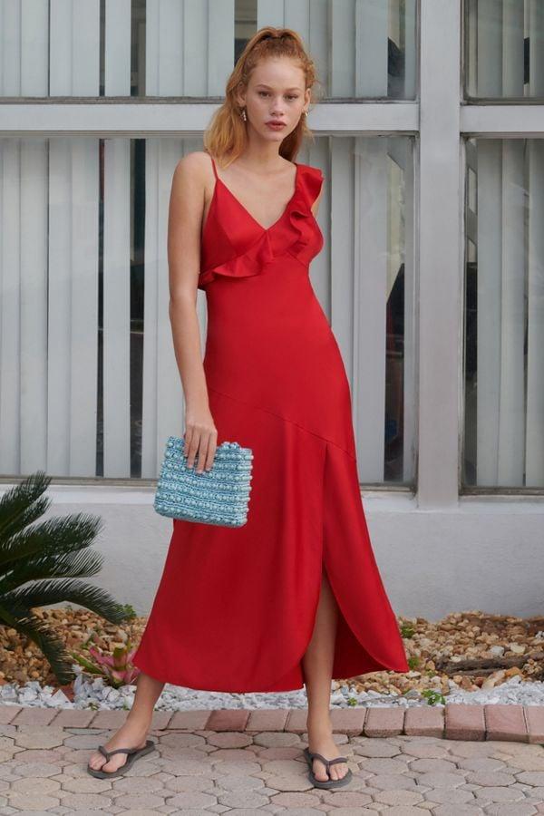 UO Flamenco Ruffle Tie-Back Slip Dress