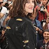 Marion Cotillard Struck a Casual Pose in a Distressed Denim Jacket