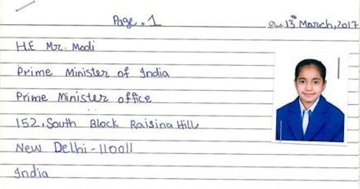 pakistani girl writes letter to indian prime minister