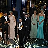 The cast of The Artist accepted the best picture award together at the 2012 Oscars.