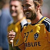 David Beckham was all smiles on the field in Australia.