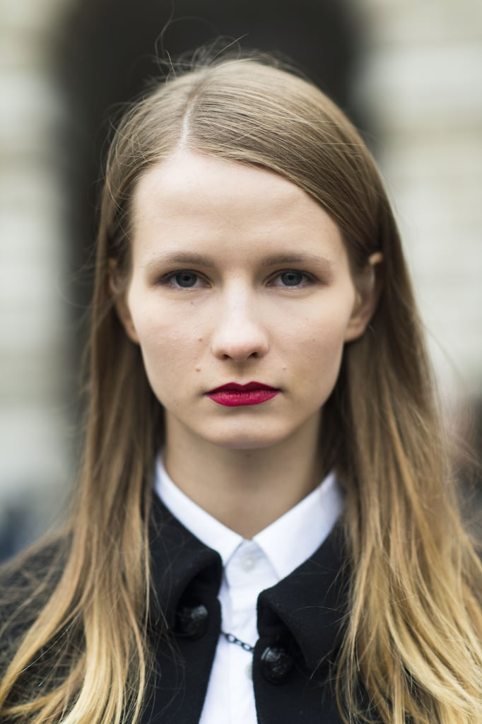 How polished does this side part and silky red lipstick look? Source: Le 21ème | Adam Katz Sinding