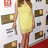 Kate Walsh brought the color to last night's red carpet in a sunny yellow sequined minidress. She showed off her stems with pointed-toe nude pumps.