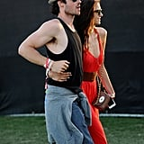 Ian Somerhalder showed off his muscles while at Coachella with Nina Dobrev in April 2012.