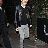 Chord Overstreet took off his Brad Pitt wig as he left an LA party on Saturday.