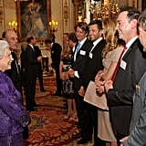 The queen greeted Australians at Buckingham Palace.