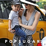 Miranda Kerr took Flynn out for a morning walk in NYC.