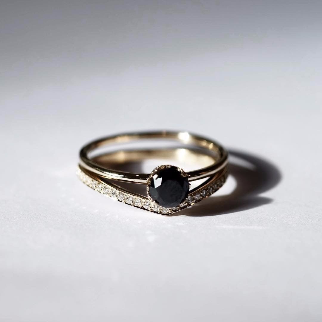 black stone engagement rings popsugar love sex - Stone Wedding Rings