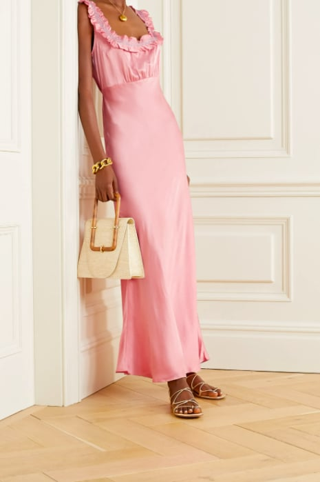 Nola Embroidered Silk-Satin Maxi Dress ($809.84)