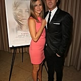 Jennifer Aniston and Justin Theroux stayed close at a screening of her new film Cake in LA on Friday.
