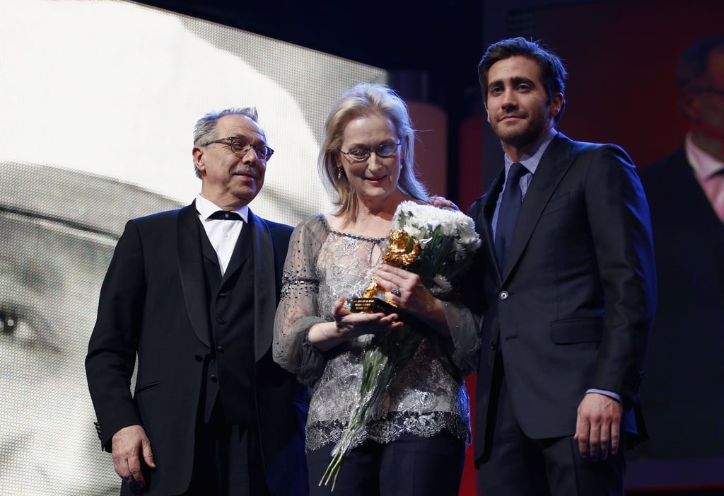 "Jake Gyllenhaal presented his friend Meryl Streep with the Berlin Film Festival's Honorary Golden Bear for lifetime achievement last night during a Valentine's Day presentation. The pair worked together on 2007's Rendition, though Jake joked that he first became acquainted with Meryl as ""Hank's mom"" when he struck up a grade school friendship with her son, Henry Gummer.  Meryl's in Germany screening The Iron Lady, which earned her a best actress statue at the Golden Globes and, most recently, the BAFTAs. Meryl is also nominated for an Academy Award thanks to her portrayal of Margaret Thatcher; however, our editors think The Help's Viola Davis will win the Oscar. The Academy Awards are less than two weeks away, so make your Oscar predictions and enter to win an iPad 2 16GB Wi-Fi and a luxurious Prada case."