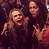 Cara Delevingne and Tyra Banks got silly while backstage at a Celine Dion concert, of all places. Source: Instagram user tyrabanks