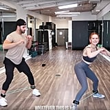 With the bands still around your ankles, get into a wide squat position and jump your entire body left and then back to starting position. Do this eight times.