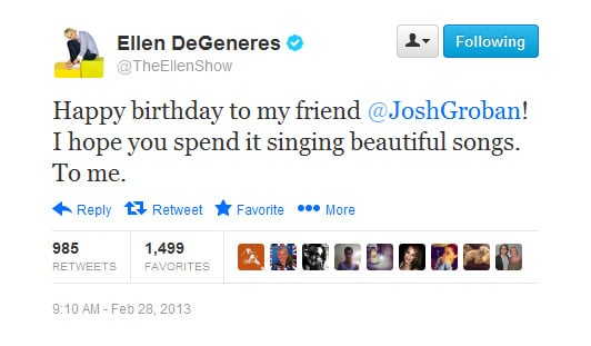 Ellen only had a small request of birthday boy Josh Groban.