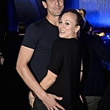 At the Delta party, Kaley Cuoco snuggled up to her husband, Ryan Sweeting.