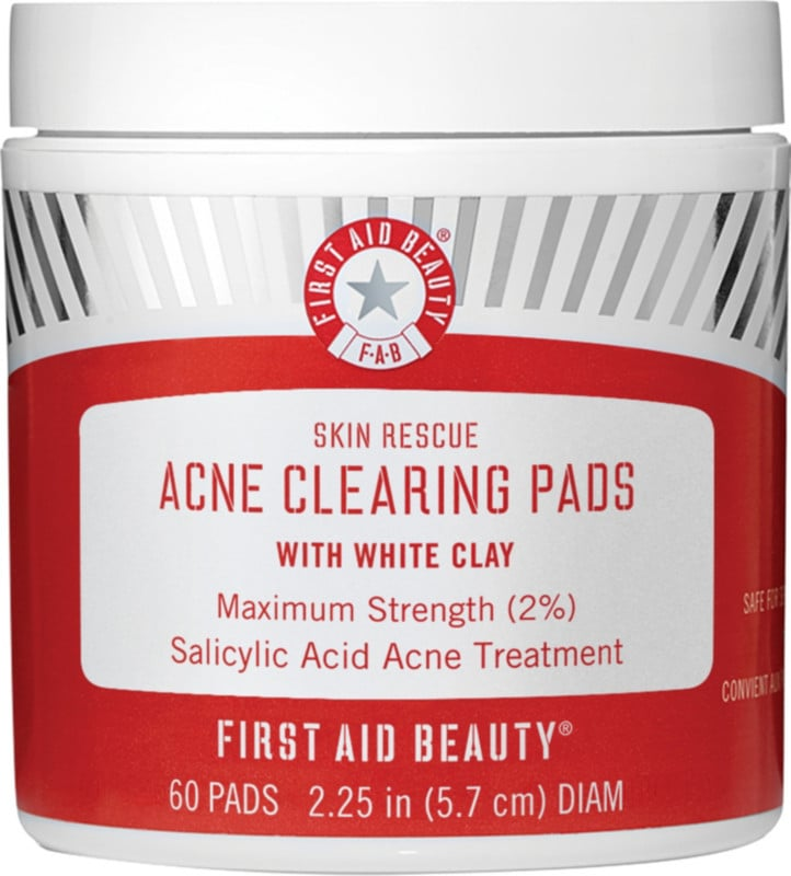 Salicylic Acid Treatment Pads: First Aid Beauty Skin Rescue Acne Clearing Pads With White Clay