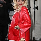 Rita Ora's bright red jacket provided all the color jolt we need in one wintry staple.