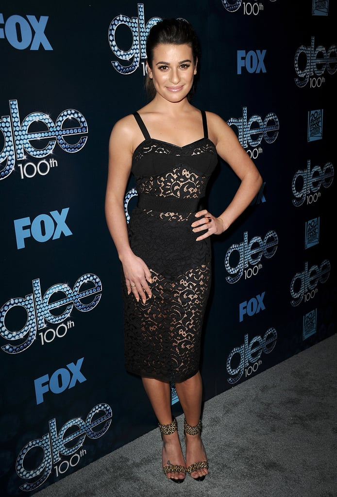 The Glee cast got all glammed up for their big 100th-episode celebration party on Tuesday night in LA. In addition to familiar faces from the main cast — including Lea Michele in a lace black Milly dress, Naya Rivera in a similarly sexy sheer number, and Darren Criss looking dapper in a suit — it was another reunion, as returning stars Dianna Agron and Heather Morris joined the bash. There were plenty more returns too, and everyone looked excited to be together — especially happy couples. Harry Shum Jr. and his fiancée, Shelby Rabara, walked the carpet together, and costars Melissa Benoist and Blake Jenner cozied up, but the cutest pairing may have been Chris Colfer and his onscreen stepmom, Romy Rosemont, who shared an embrace. Keep reading to see all the pics from the Glee celebration, and then check out a big performance from the 100th episode.