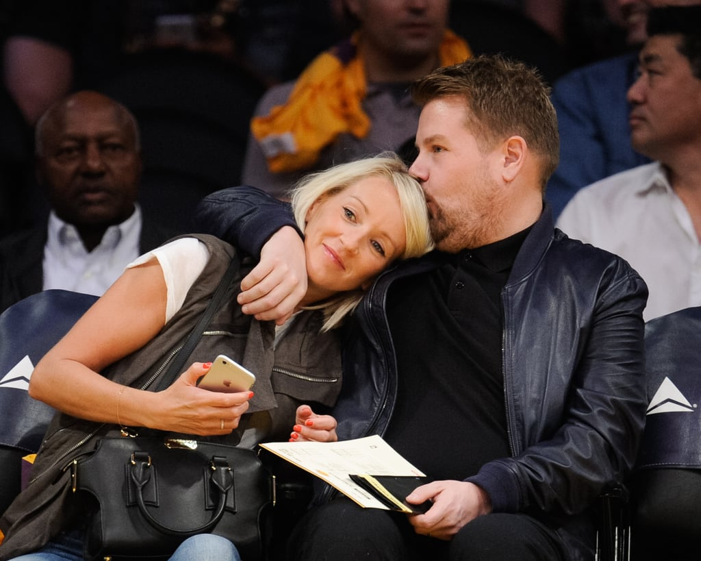 James Corden and Wife Julia Carey at Basketball Game