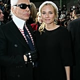 In 2007, Karl took a moment to pose with Diane at the Chanel Haute Couture show during Paris Fashion Week.