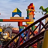 A look at one section of the Slinky Dog Dash ride, featuring Rex.