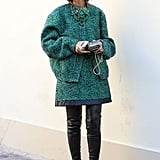 Tweed and leather make a perfect pair in this chic Fall take on texture.