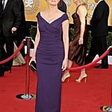Susan Sarandon looked very classy and elegant in a Nicole Miller dress.