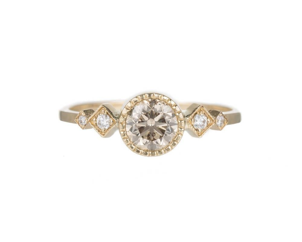 Champagne Diamond Solitaire Echo Ring by Jennie Kwon