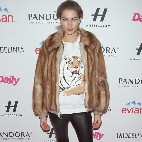 Jessica Hart Fur Coat With Leather Pants Outfit