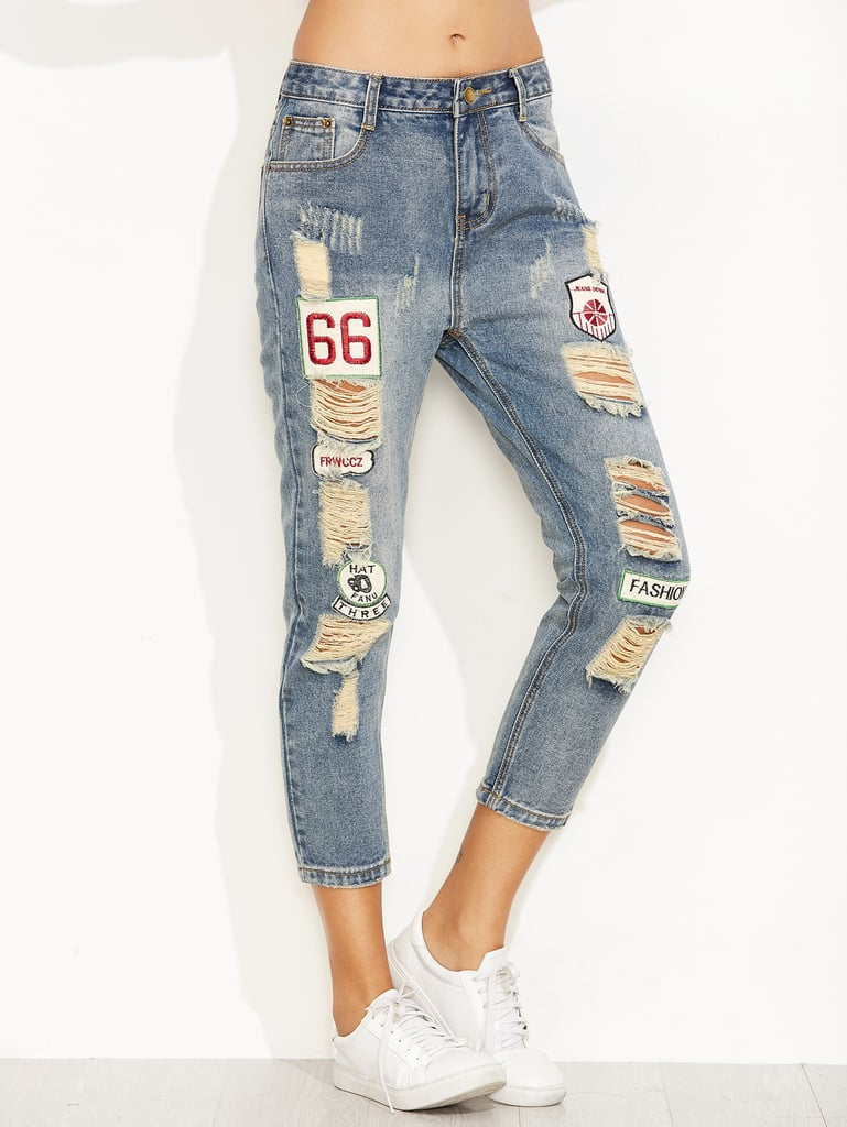 Blue Distressed Ripped Embroidered Patch Jeans by Romwe