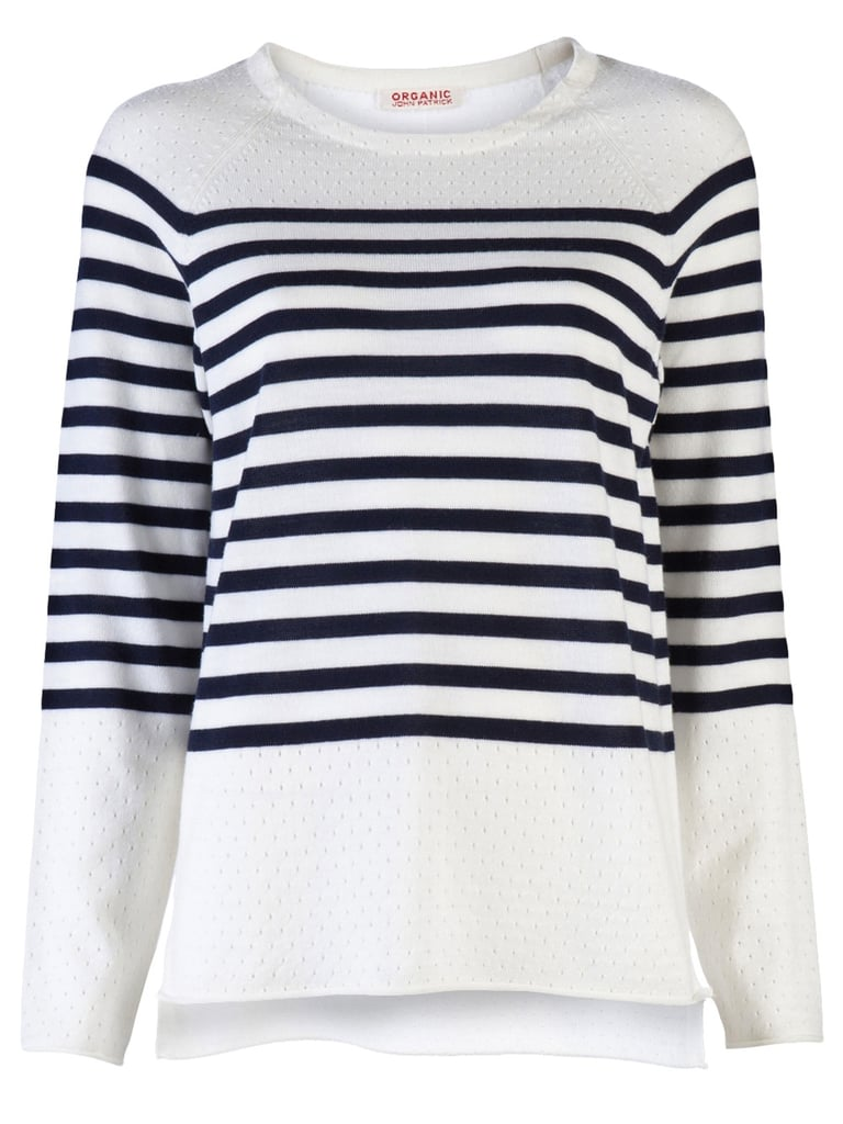 We love how this sweater blends classic nautical stripes with a cool perforated neckline.  Organic By John Patrick Perforated Stripe Pullover ($255)