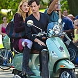 Blake Lively and Penn Badgley scooted around on a Vespa in New York on August 28 as they filmed scenes for the sixth and final season of Gossip Girl.