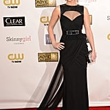 Jennifer Lawrence stepped out in a black Prabal Gurung gown with a train.