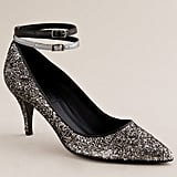 Double ankle straps put a comfortable spin on these glittery pumps.  J.Crew Starla Ankle Strap Pumps ($100, originally $298)
