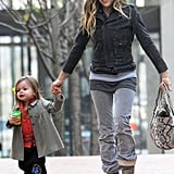 SJP was all smiles dropping the girls off at class.
